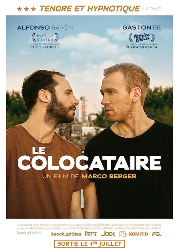 Affiche Le colocataire, un film de Marco Berger, au cinéma en France le 1er juillet 2020. Gaston Re en interview dans WAG, cinéma LGBT