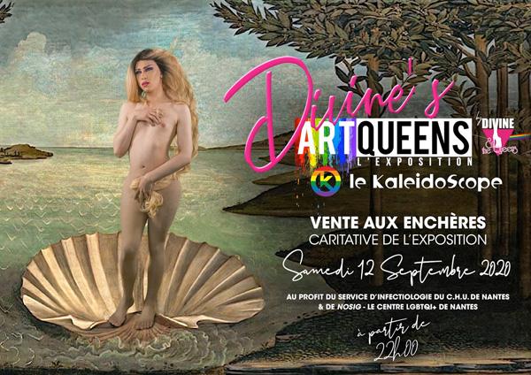 Pub pour le bar le Kéléidoscope à Nantes , Vente aux enchères tableaux des Divive and the Queens. Le K, Nantes , BAR LGBT, gay, WAG