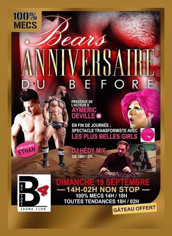 Flyer du dimanche anniversaire 100% mecs du Before Sauna / Dimanche 19 septembre 2021. Spectacle gay avec l'acteur X Aimeric Deville, Show avec les Plus Belles Girls de Nantes. Journée gay